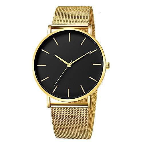 Uhren Minimalist Männer Art und Weise Ultra dünne Uhren einfache Mann-Edelstahlgewebe Gürtel Quarzuhr Relogio Masculino Asun (Color : F)