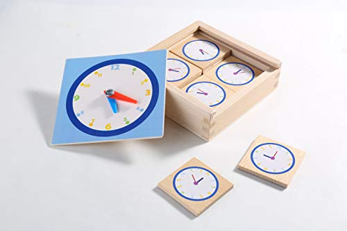 Ignite Inspire Improve Matching Game for 3 to 6 Year olds Memory Game for Boys and Girls Non Toxic Wooden Educational Toy for Toddlers Preschool Games 3-6 Age (Clock)