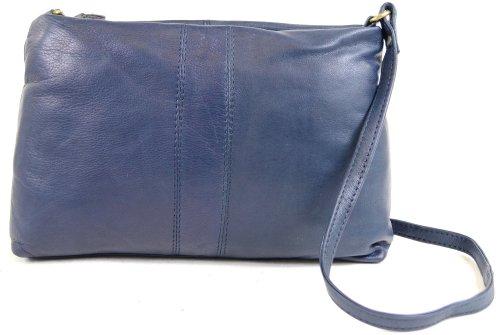 Borsa a spalla/tracolla da donna, in morbida pelle di qualità (colori: nero, marrone, bue, blu, antracite, marrone chiaro, rosso), blu