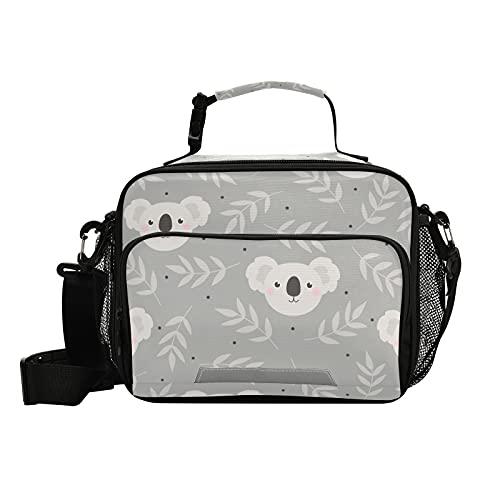 Caja de almuerzo para niños, linda caja de comida con aislamiento de color gris koala reutilizable con correa para el hombro para niñas, niños, mujeres, hombres