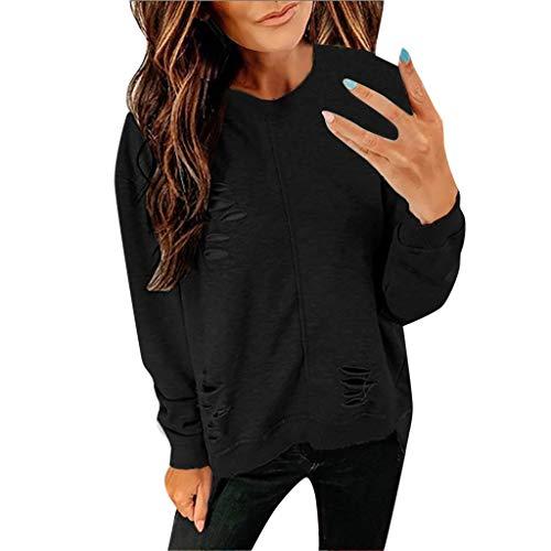 Long Sleeve Tee Blouse Women, Amiley Women Broken Hole Crewneck Fashion Autumn Long Sleeve T Shirts Tunic Casual Tops Blouses (X-Large, Black)