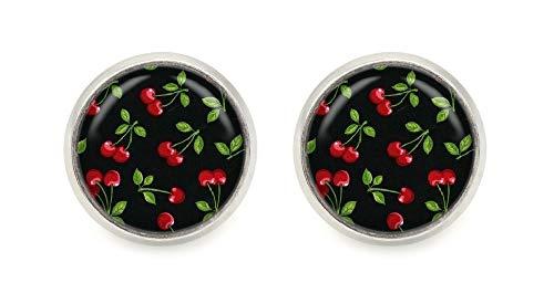 Kirschen Motiv Cabochon Ohrstecker silberfarben 12mm Ohrringe
