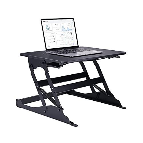 QIAOLI Escritorio de pie plegable para computadora de pie pequeño convertidor de escritorio de altura ajustable para sentarse escritorio de aluminio para monitor y computadora portátil (color: negro)