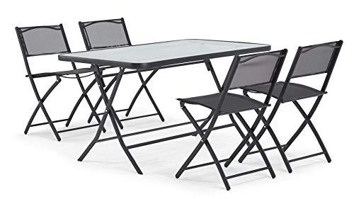 Table de Jardin et 4 chaises Pliantes en Acier et Verre