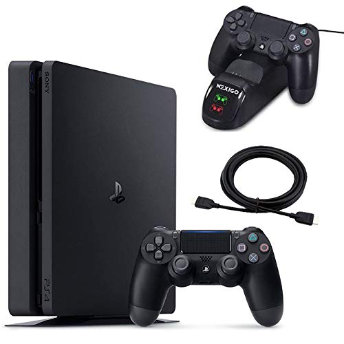 NexiGo 2020 Newest Playstation 4 PS4 Slim Console Holiday Bundle 1TB HDD PS4 Controller Charging Station 4K HDMI Cable Bundle 5FT
