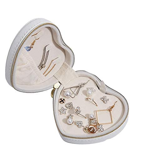 Portonss  T0 Caja de joyería Pendientes de Collar de gabinete del corazón Caja de Almacenamiento Caja de Almacenamiento Ronda Casecadeau