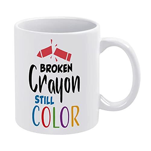 DKISEE Broken Crayon Still Color Mug, Novelty Ceramic Coffee Mug Tea Cup, Christmas Birthday Holiday Ideal Gifts - E00610