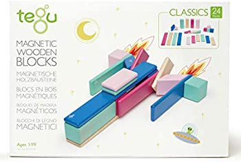 Tego 24-Piece Magnetic Wooden Block Set in Blossom Color Theme