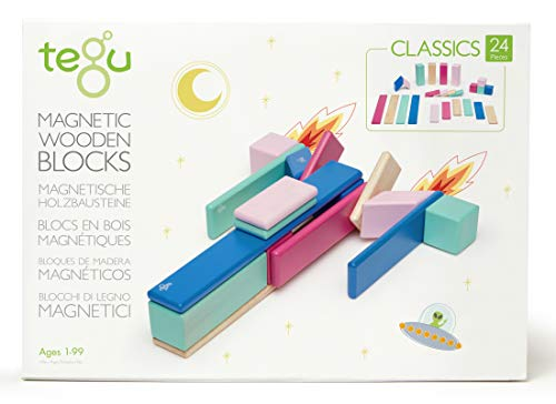 24 Piece Tegu Magnetic Wooden Block Set, Blossom