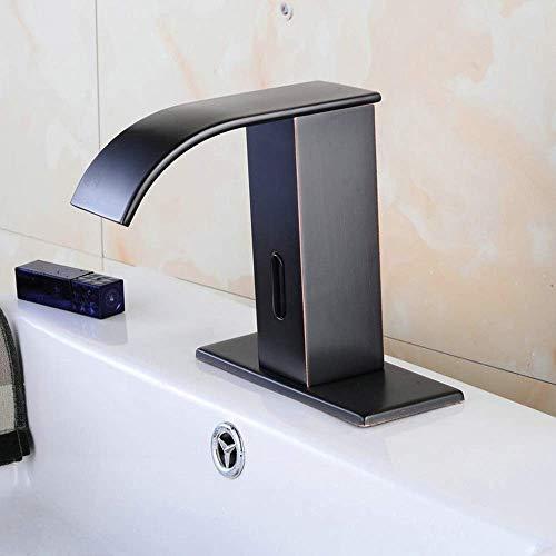 YIONGA CAIJINJIN Cobre Moderno baño Grifo del Lavabo Negro inducción sin Contacto Cascada efluente a contrarrestar la Cuenca del Grifo de la práctica Hermosa Cuarto de baño
