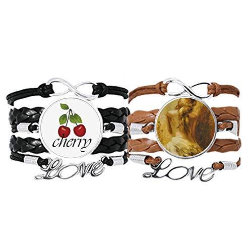 Bestchong Pulsera de piel con correa de piel para mujer, diseño de cereza, color rubio