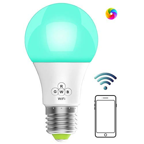 WiFi Smart Dimmable LED Bulbs, AMAZING POWER Music Sync RGB Color Changing Light Bulb, Compatible with Alexa, Echo, Google Home and IFTTT, A19 40W Equivalent by 4.5W