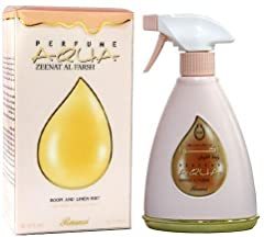 ABOUT AQUA ZEENAT AL FARSH: Perfume Zeenath is a premium water-based fragrance formulated with a secret blend of essential oils and anti bacterial ingredients. Developed to effectively overcome unpleasant odors and add a fragrant touch to your ambien...