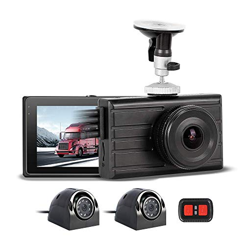3CH Vehicle Backup Camera 1080P Front and VGA for 2 Sides Truck Dash Cam Infrared Night Vision Recording DVR Waterproof Dash Camera for Semi Truck Trailer