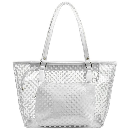Micom Cute Neno Candy Color Polka Dot Clear Beach Tote Shoulder Handbag (White)