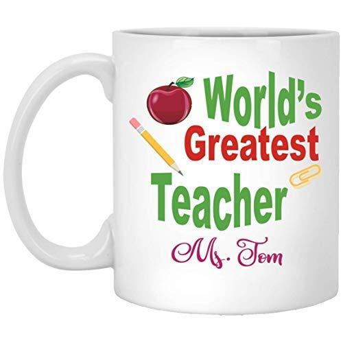 Queen54ferna Taza de cerámica personalizada con texto personalizado y texto en inglés 'World's Greatest Teacher'