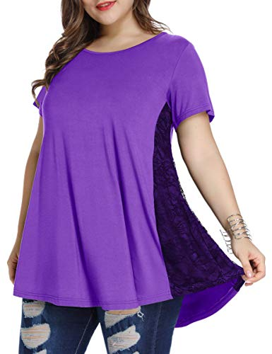 LARACE Women Lace Tunic Top Short Sleeve Flare T Shirt For Leggings(2X, Deep Purple)
