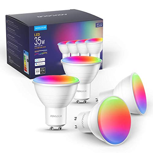 Smart WLAN LED Lampen GU10 Wifi Glühbirnen, Aoycocr warmweißes Licht, 35W, 2700-6500K+RGB, Bluetooth lampe, Musik dimmbar, Smart Home steuerbar via App, Kompatibel mit Alexa Google Home(4PACK)