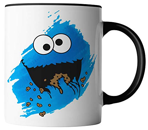 vanVerden Tasse - Cookie Monster Keks-Monster - Kinder Comic TV Serie Karneval Fasching - beidseitig Bedruckt - Geschenk Idee Kaffeetassen Spruch, Tassenfarbe:Weiß/Schwarz
