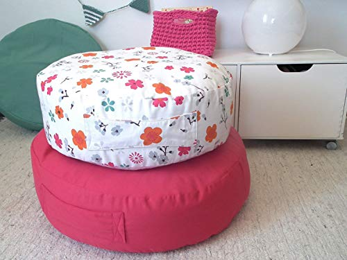 Floral Floor Pillow- Kids Furniture-Canvas Pouf Ottoman-Round Floor Pillow-Teepee Cushion