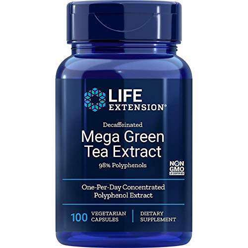 commercial Life Extension Mega Green Tea Extract (98% Polyphenols) Caffeine Free, 100 Vegetarian Capsules green tea extracts