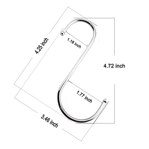 LOYMR 6 Pack 4.7 Inches Extra Large S Shape Hooks Heavy-Duty Metal Hanging Hooks Apply Kitchenware Bathroom Utensils Plants Towels Gardening Multiple uses Tools (Silver)