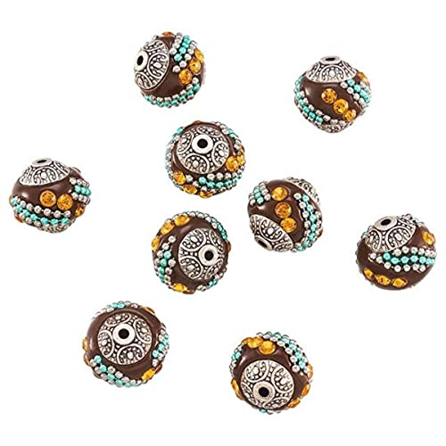 10 piezas hechas a mano con cuentas de Indonesia, joyería, collares, pulseras, suministros para hacer bricolaje con diamantes de imitación, núcleos de aleación, color mezclado redondo