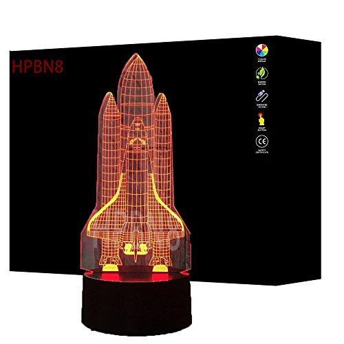 Preisvergleich Produktbild HPBN8 3D Rakete Illusions LED Lampen Tolle 7 Farbwechsel Acryl berühren Tabelle Schreibtisch-Nacht licht mit USB-Kabel für Kinder Schlafzimmer Geburtstagsgeschenke Geschenk