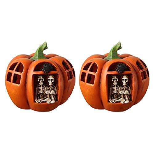 2 pezzi in resina a forma di zucca con scheletro, lanterna decorativa per Halloween con luci a LED, decorazione per la casa di Halloween