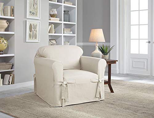 Serta | Relaxed Fit Durable Woven Linen Canvas Furniture Slipcover, Chair, White