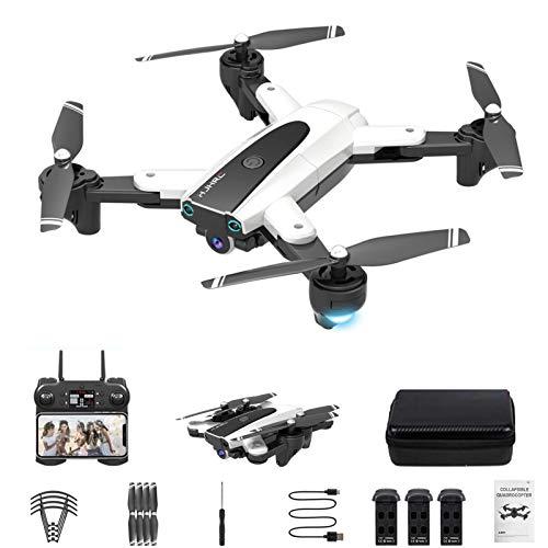 Drone xuelili HJ-68 com câmera 4K HD para adultos, quadricóptero dobrável com vídeo ao vivo FPV grande angular, trajetória, controle de aplicativos, fluxo óptico,drone para iniciantes,Branco
