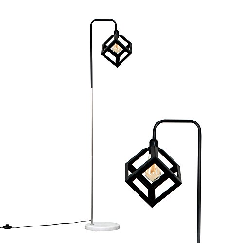 Retro Style Black/Chrome Metal & White Marble Base Floor Lamp with a Black Puzzle Cube Shade