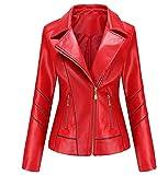 ZYLL 2021 Chaqueta Corta de Cuero sintética de Las Mujeres, Abrigo Casual de Moto para la Cubierta de la sección Delgada de Primavera y otoño,Rojo,L