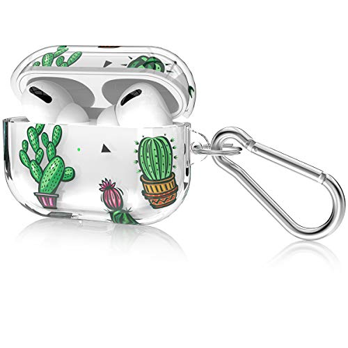 LOFTER AirPods Pro Case Schutzhülle [Mit Schlüsselbund] [LED vorne sichtbar] [Unterstützung für kabelloses Laden] Weiches TPU Transparent Clear Case für Airpod Pro/AirPods 3 - Muster Grüner Kaktus