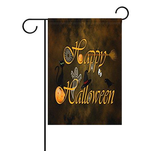 TIZORAX Halloween Jack Laterne Kürbis Gespenst Katze Totenkopf Spider Garten Flagge Double Größe Print Dekorative Holiday Home Flagge, 30,5x 45,7cm, Polyester, mehrfarbig, Small-12x18-Inch