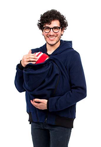 Viva la Mama - Jacke mit Trageeinsatz für Papa + Baby Rückentragejacke Fleecejacke Babytragen Männer Kängurujacke One4Two - Marine - XXL