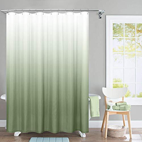TOPICK Wasserdichter Stoff Duschvorhang für Badezimmer, Waffel gewebter Stoff Metall Ösen Oben 175x180cm (175cm*180cm, Farbverlauf Grün)