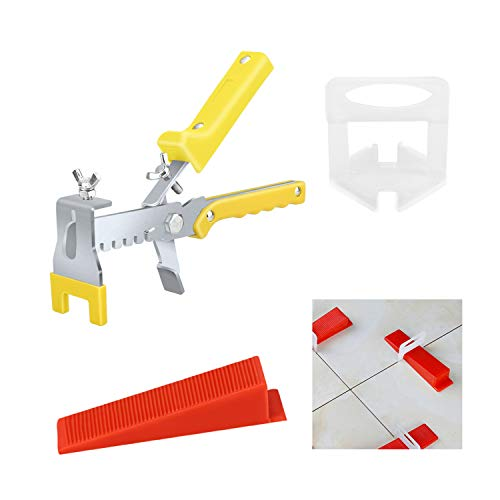 Premium Tile Leveling System with Push Pliers, 300PCS 1/8 Inch Leveler Spacers Clips & Reusable 100PCS Wedges, DIY Tile Tools Set for Floor & Wall Construction by Tanek