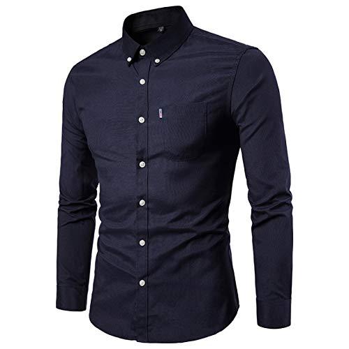 Camisas para Hombre Camisa de Manga Larga Formal Ajustada de Color sólido Simple de Todo fósforo Camisa de Manga Larga de Solapa Ajustada de Primavera Camisa de Manga Larga M