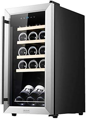 Cecotec Vinoteca GrandSommelier 15000 INOX Compressor. 15 Botellas, Compresor, Alto Rendimiento garantizado, Temperatura Regulable, Clase de eficiencia energética A
