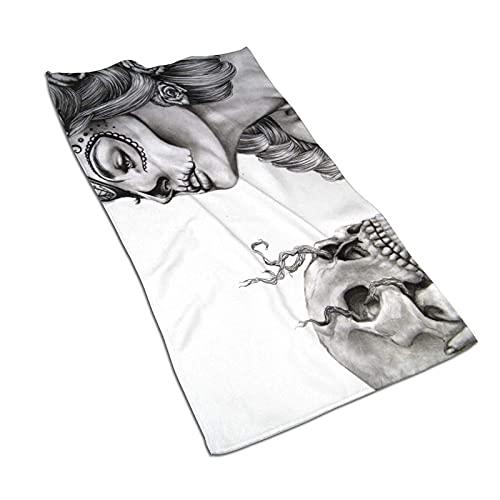 Latina Drawing Sugar Skull Toalla de baño de Microfibra Suave Toallas de Cocina de baño de Mano 27.5 X 17.5 Pulgadas