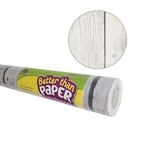 Teacher Created Resources Better Than Paper Bulletin Board Roll, 4' x 12', White Wood, 4 Rolls