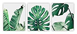 "Home Wall Art Décor Plants Posters Oil Paintings Posters Prints Watercolor Green Leaf Pictures Canvas Wall Art Wall Decorations 8"" x 10"" 3 Pieces (UNFRAMED)"