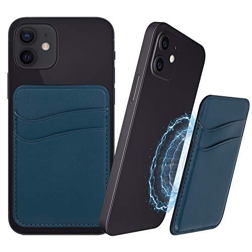 Funda magnética para tarjetas de crédito compatible con iPhone 12 Pro Max Mini magnético, color azul