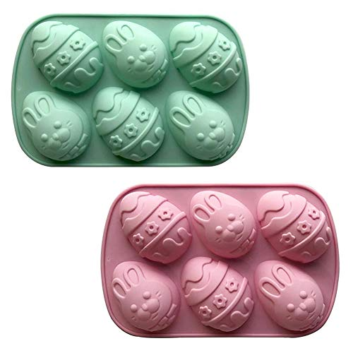 XYDZ 2PCS Stampo per Uova di Pasqua Stampo 3D in Silicone a Forma di Coniglio Per Cottura Fai da te Mooncake Cioccolato Wafer Torte Muffin 6 Cavità Stampi in Silicone Stampi