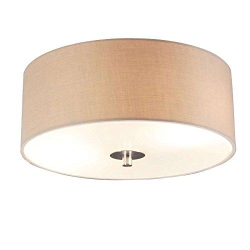 QAZQA Modern/Landhaus/Vintage/Rustikal Country Deckenleuchte/Deckenlampe/Lampe/Leuchte beige 30 cm - Drum mit Schirm/ 2-flammig/Innenbeleuchtung/Wohnzimmerlampe/Schlafzimmer/Küche G