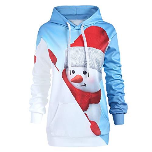 OverDose Damen Frauen-Weihnachtsmit Kapuze drucken Lange Hülsen-Sweatshirt-Blusen-Strickjacken-Partei-im Freien dünne Pullover Outwear Bluse