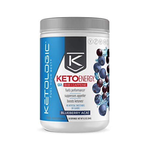 KetoLogic BHB Exogenous Ketones Powder with Caffeine (30 Servings) - Keto Pre-Workout, Boosts Ketosis, Energy & Focus - Support Keto Diet with Beta-Hydroxybutyrate Keto BHB Salts - Blueberry Acai