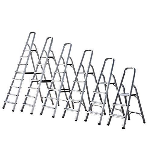 Escalera de aluminio de 3 4 5 6 7 8 peldaños, escalera ligera plegable, escalera portátil antideslizante, carga máxima 150 kg EN131 UK Stock, plateado