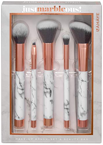 LAHAYE - MARBLE-OUS! Pinsel Set - 5-teiliges Make-up Brush Set mit Beauty Bag